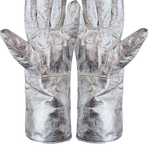 Phoenixfly99 Aluminized Heat Resistant Gloves Welding Gloves High Temperature Safety Work Gloves Oven Mitt BBQ Gloves (38cm)