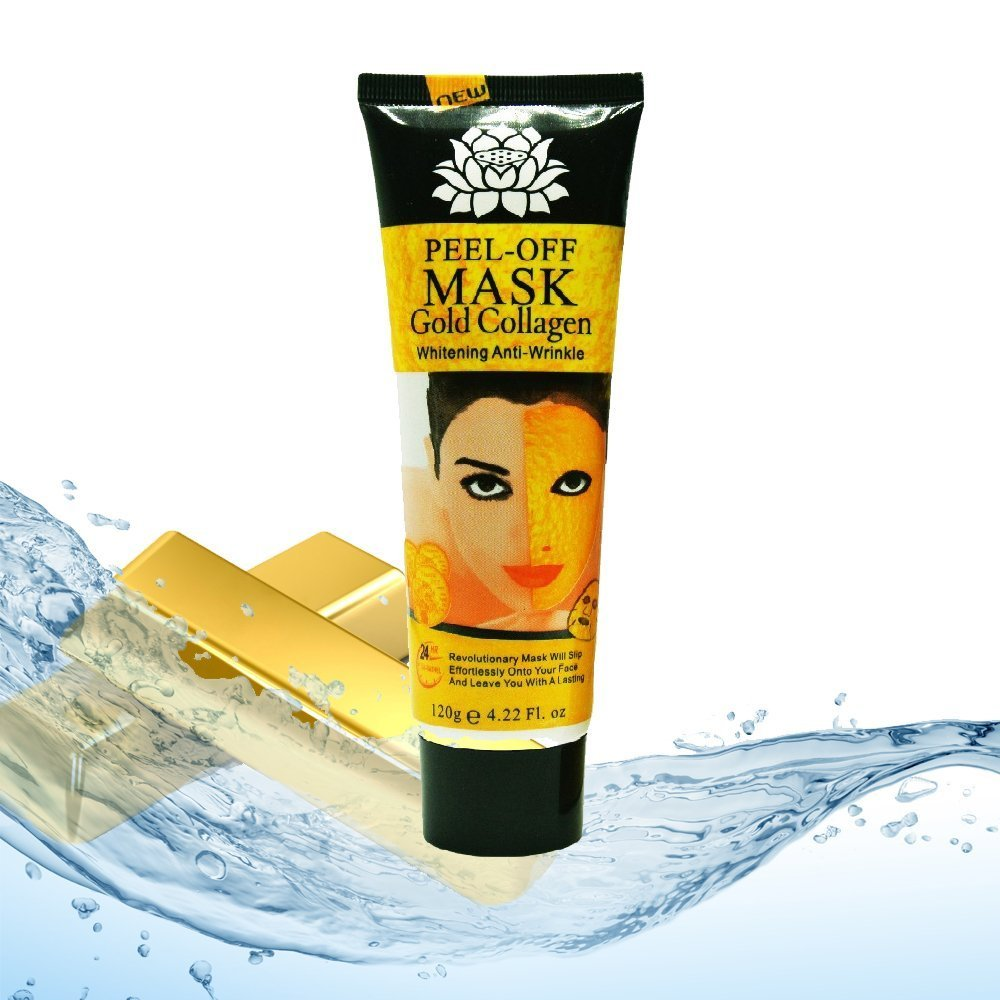 24K Egyptian Gold Peel Off Mask Facial Treatment - Hydrating, Collagen Boosting, Anti Aging, Pore Cleansing, Skin Brightening (1)