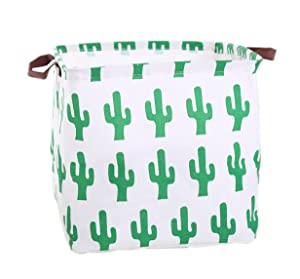 Mvchif Square Large Canvas Toy Bag Laundry Tote Basket with Leather Handle Collapsible Gift Bag for Baby Clothes Home Decor (Cactus)