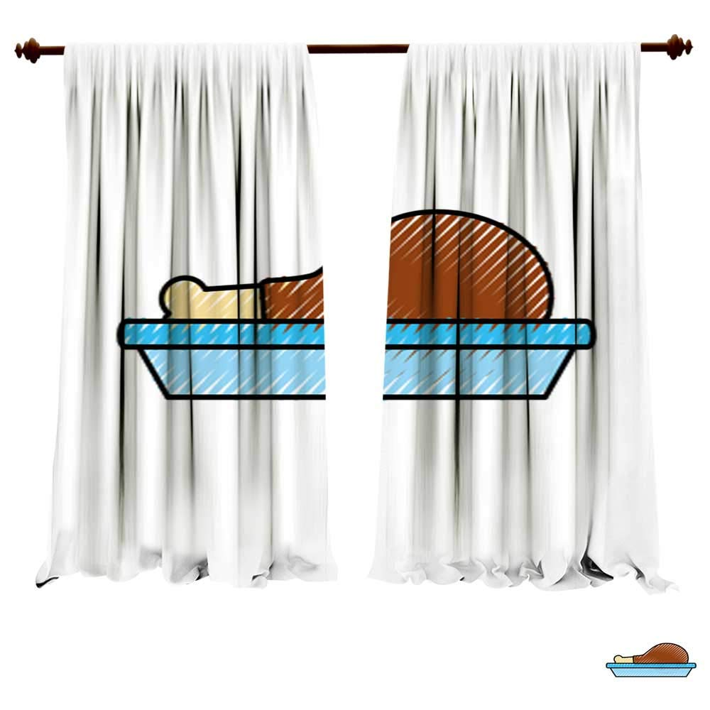 Blackout Curtain Panels Chicken or Turkey Thigh Food menu thanksgiving2 Window Drapes for Kitchen Cafe