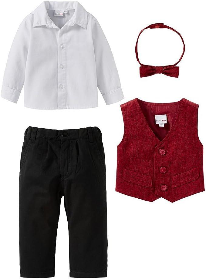 Set Festliche Mode//Babybekleidung Junge//Anzug//rot//wei/ß//schwarz Bornino 4-TLG