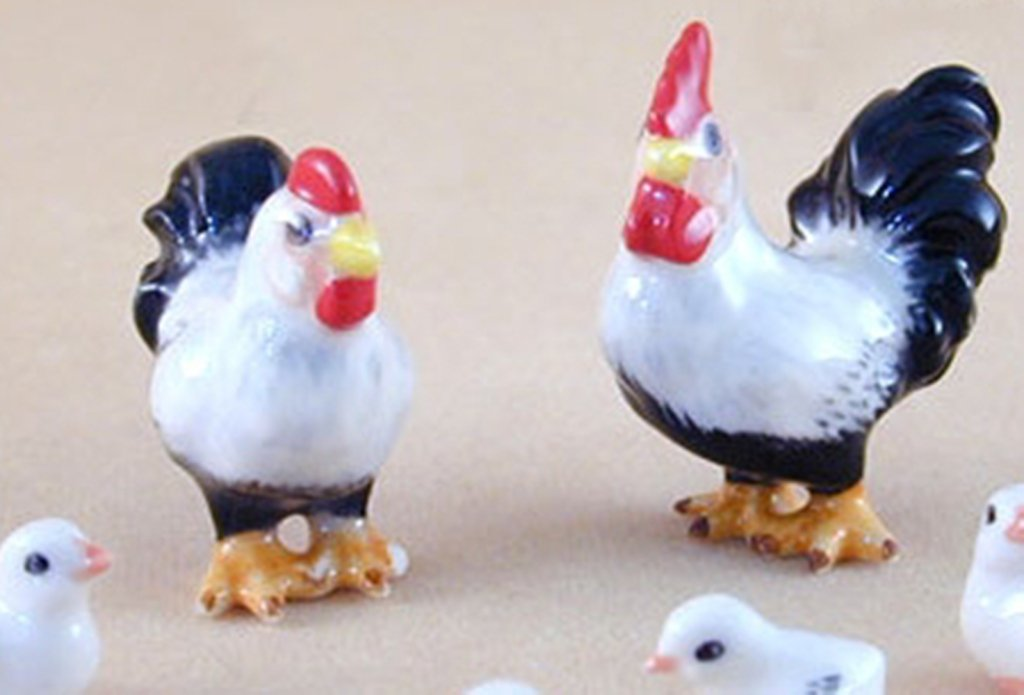 Ceramic Decor Short Chicken FIGURINE Animals