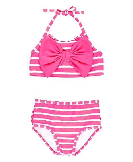 e993cdad4c2 RuffleButts Baby/Toddler Girls Hot Pink Striped Bow Bikini 2 Piece Swimsuit  - 3-6m: Amazon.in: Clothing & Accessories
