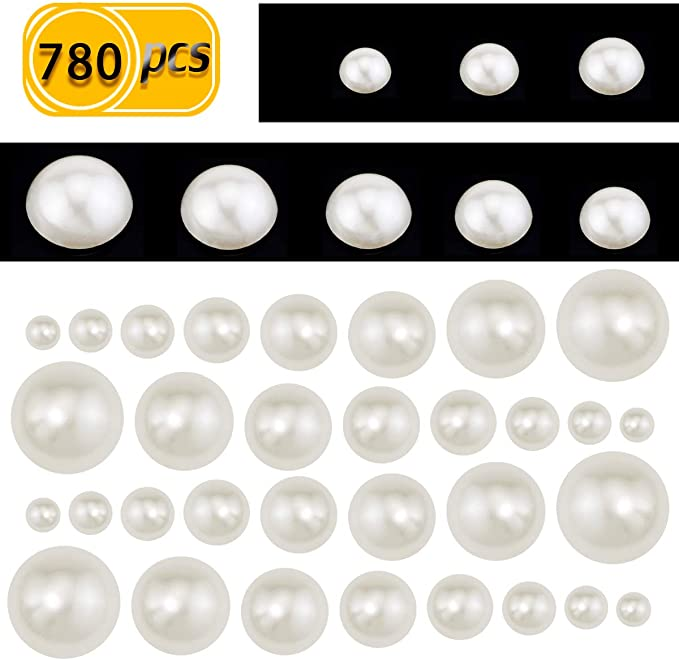100 Mixed Colour Acrylic Half Pearl Flatback Round Bead 12mm Scrapbook Craft