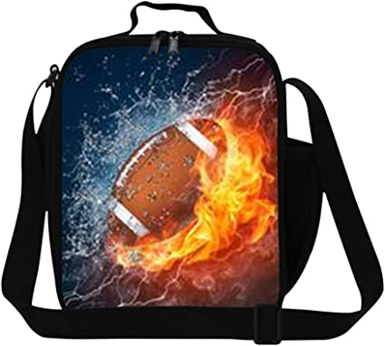 Personalised Insulated Lunch Bag Kids Childrens School Food Meal Box Football