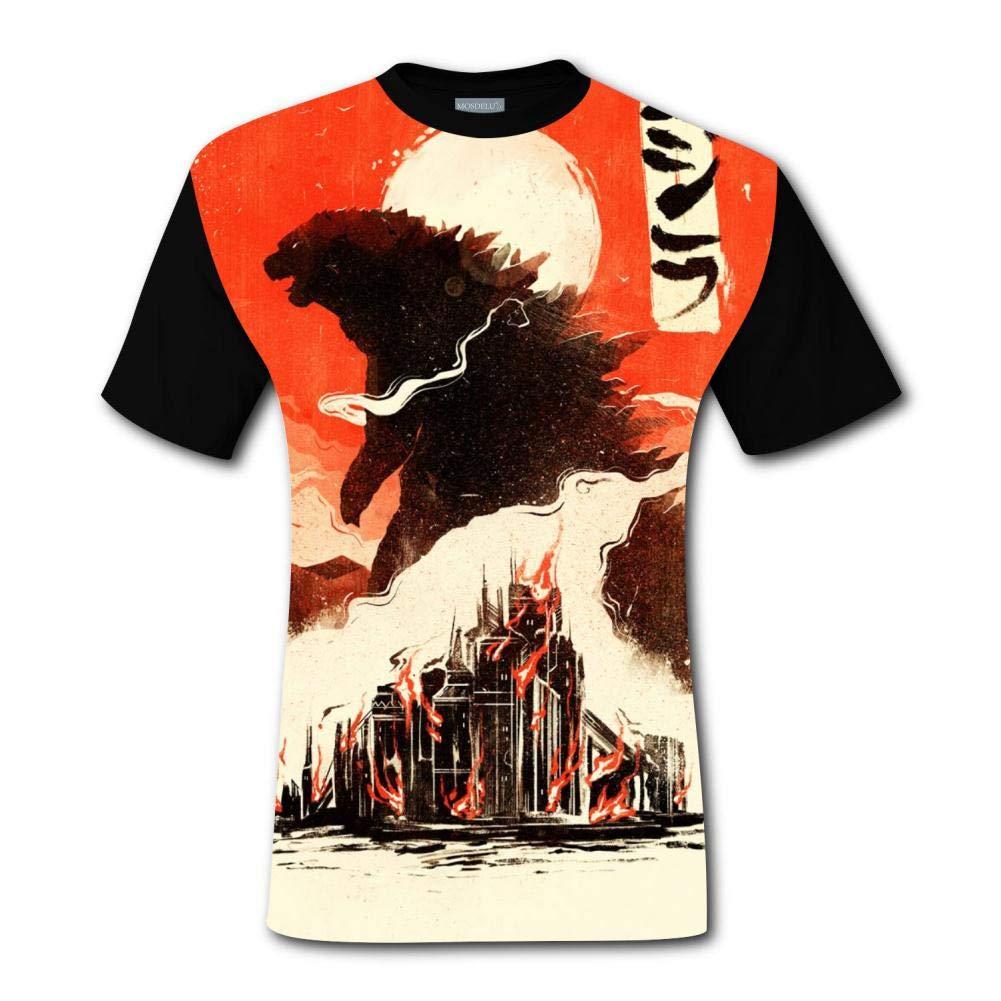 XiuHongShangMAo Godzilla Poster 3D Printing Short Sleeve Crew Neck T Shirt Men