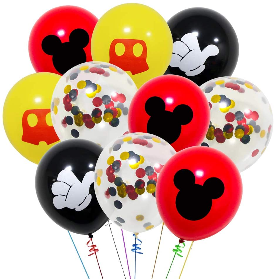 40 Pack Mickey Mouse Balloons, 12 Inch Latex Balloons Red Black Yellow Mickey Color Confetti Balloons Kit for Baby Bbay Party Baby Shower Mickey Mouse Theme Party Supplies