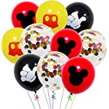 40 Pack Mouse Balloons, 12 Inch Latex Balloons Red Black Yellow Color Confetti Balloons Kit for Baby Birthday Party Baby…