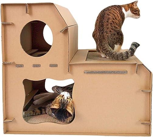 JEELINBORE Divertido Rascador Salón Cama Rascadores para Gatos Jaulas Casita Casa Cajas de cartón Corrugado para Mascota (Estilo # 3 Mejorado, 60x41x54cm): Amazon.es: Hogar