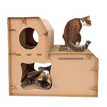 JEELINBORE Divertido Rascador Salón Cama Rascadores para Gatos Jaulas Casita Casa Cajas de cartón Corrugado para Mascota (Estilo # 3 Mejorado, ...