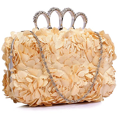 Flower Luxury FREE Nude UK DELIVERY Cream Clutch Evening Satin Bag Gorgeous Idwxd