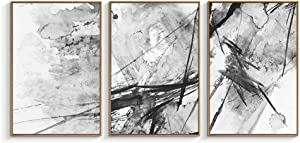 "NWT Framed Canvas Wall Art for Living Room, Bedroom Abstract Ink Painting Canvas Prints for Home Decoration Ready to Hanging - 24""x36""x3 Panels"