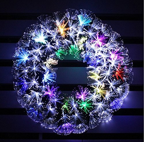 HOLIDAY STUFF 2018 Multi Color LED Fiber Optic Christmas Wreath (24in, White + Multi Colore) by HOLIDAY STUFF