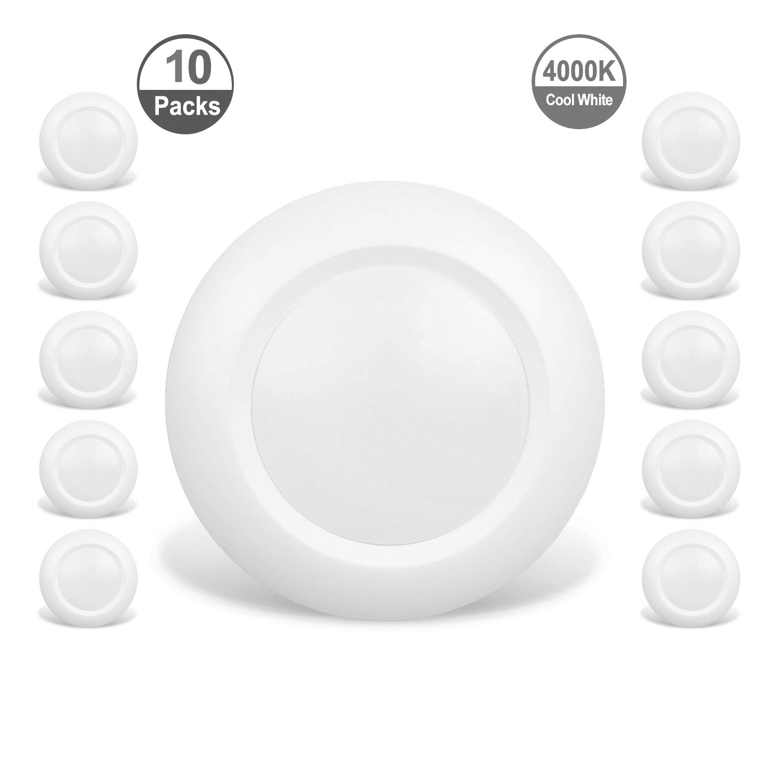 JULLISON 10 Packs 4 Inch LED Low Profile Recessed & Surface Mount Disk Light, Round, 10W, 600 Lumens, 4000K Cool White, CRI80, DOB Design, Dimmable, Energy Star, ETL Listed, White