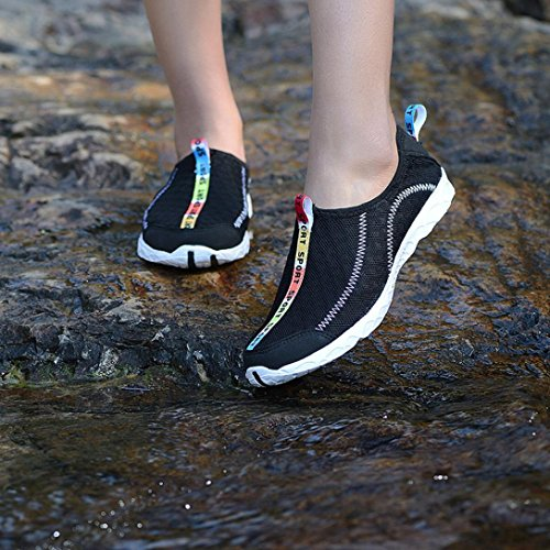 Transer Women Men Water Sport Snorkeling Shoes, Quick-Drying Diving Surf Swim Shoes, Outdoor Walking Beach Soft Shoes Black