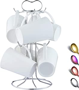 Berglander Coffee Mug Holder, Stainless Steel Coffee Cup Holder Easy to Hang and Take Avoid Crowded Collision Design, Beautiful Decoration Mug Rack Hooks Tree Coffee Cup Stand Easy to Clean