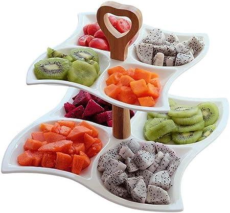 Vajilla Snack plato doble de fruta de cerámica, pincho de fruta multi-trigo, fruta seca, plato de postre, caja para el desayuno, plato de mesa regalos del restaurante de la cocina: Amazon.es: Hogar