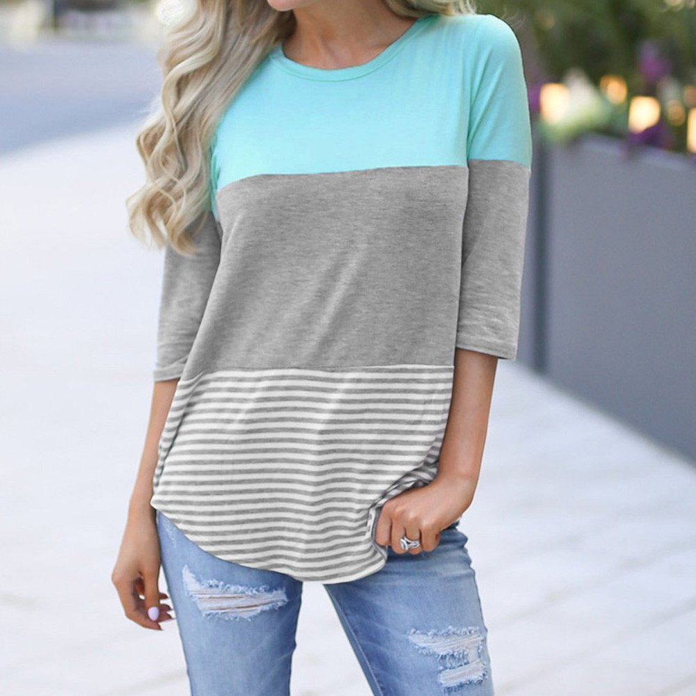 LEXUPE Women Tops Summer Comfortable Cool T-Shirts Casual Fashion Blouses Ladies Loose Striped Patchwork Lace Three Quarter Sleeve Shirts