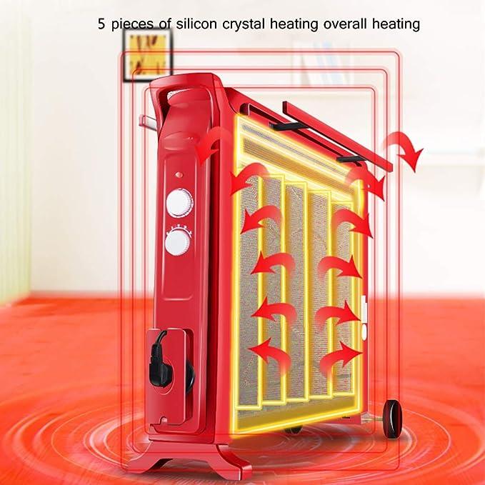 MEI XU Calentadores eléctricos Calentador eléctrico Mica Panel Convection Heater 4 Fuentes de alimentación Overheating Protection Vertical 2200W Rojo ...