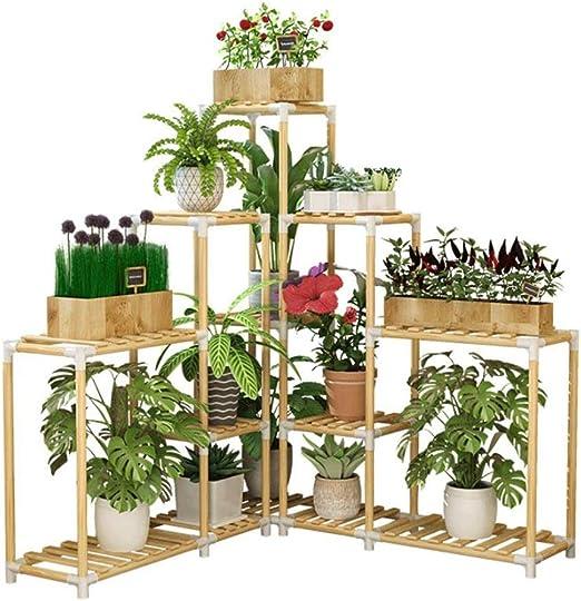 Huahua Furniture Escalera para Flores, Estante de Flores de Madera, macetas de pie Soporte de Planta