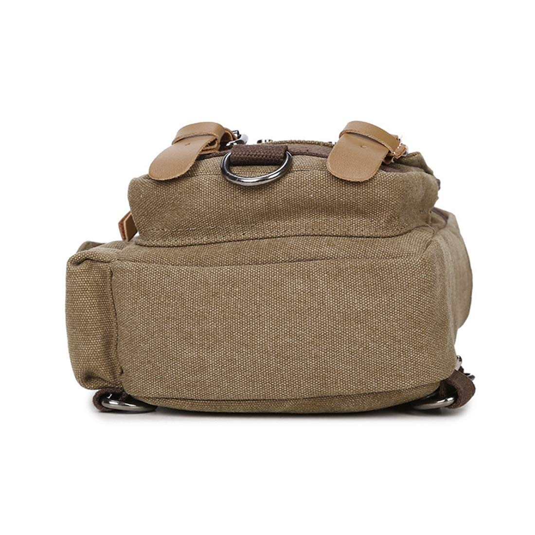 YUKILO Mens Chest Bag Zipper Canvas Waterproof Messenger Bag Shoulder Bag Color: Khaki Color : Brown