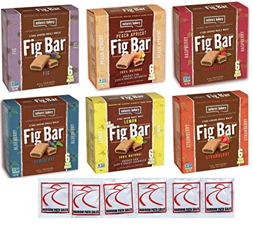 Fig Bar Variety Pack, Bundle of 6 Boxes, Nature's Bakery Stone Ground Whole Wheat Figs, 36 Individually Wrapped Bars.