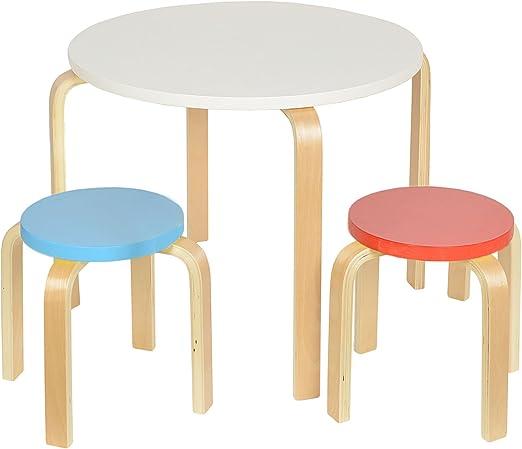 Set de sillas y mesa redondas para niños en madera: Amazon.es: Hogar