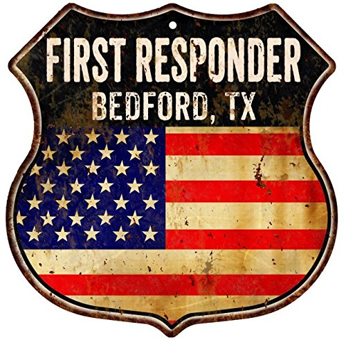Bedford Metal - Great American Memories BEDFORD, TX First Responder American Flag 12x12 Metal Shield Sign S123051