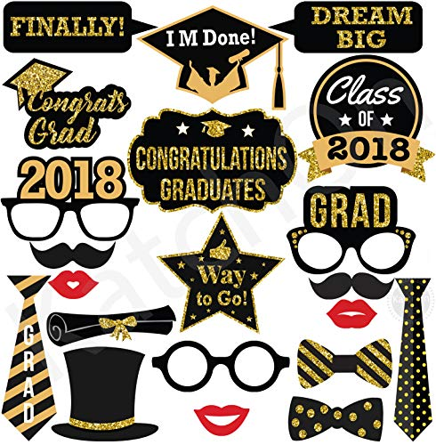 2018 GRADUATION PHOTO BOOTH PROPS - Real Gold Glitter   Great Graduation Decorations for Graduation Party Supplies 2018 High School Senior Prom Grad Party   Heavy Duty Cardstock   Large Size, 21 count -