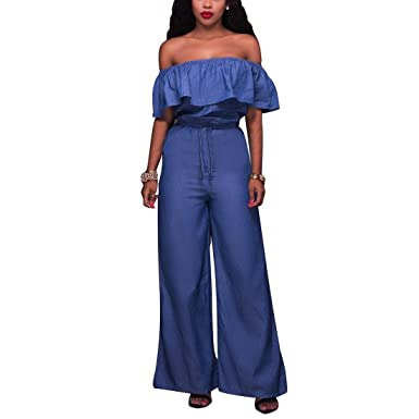 900c8021a944 Image Unavailable. Image not available for. Color  YYF Women s Denim Wrap  Chest Ruffles Bodycon Lace-up Jumpsuit Romper