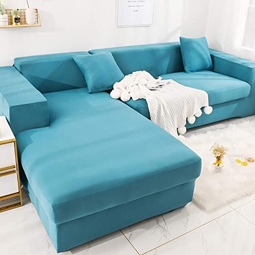 AjAsh7 - Fundas de sofá en forma de L, color sólido, fundas ...