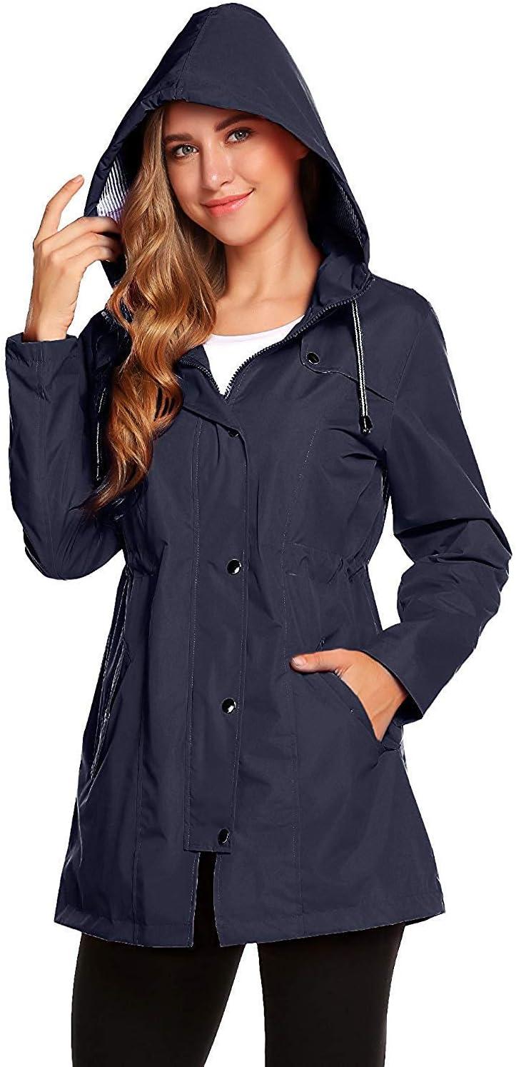 Hooded Raincoat Lined Outdoor Windbreaker Long Sleeve Zipped Trench Coats Windproof Casual Daily Coats RUICHUANGS Women/'s Waterproof Rain Jacket