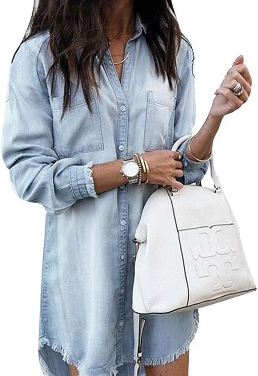SKAISK Camisa Vaquera Multicolor para Mujer con puños con Flecos, Blusa de algodón de Manga Larga, Top túnica de Jeans Largos: Amazon.es: Hogar