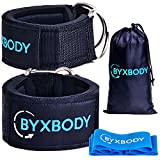 Ankle Straps for Cable Machines and Resistance Band plus Carry Bag - Padded Ankle Strap Attachment for Weightlifting Leg Gym Workout, Fitness Ankle Cuffs by ByxBody