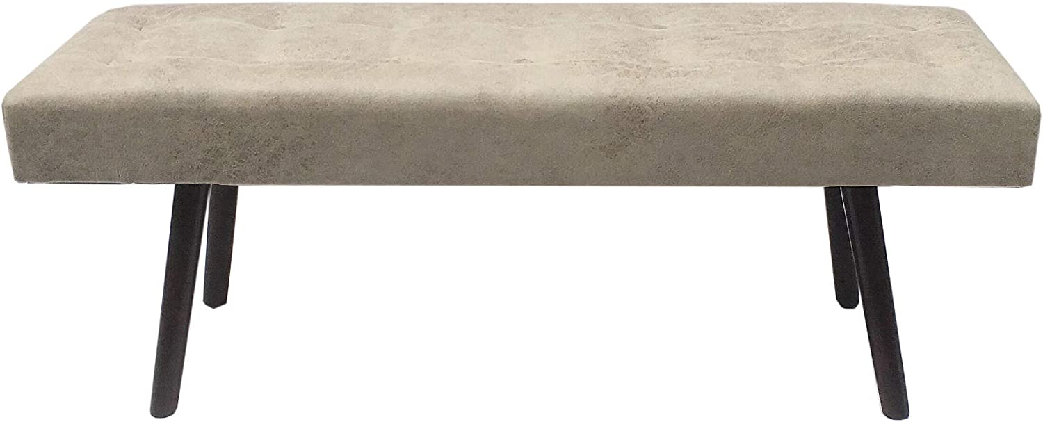 Gray Design Guild Faux Leather Bench with Wooden Legs