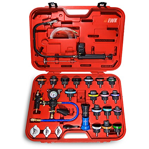 EWK Universal Radiator Pressure Tester Cap Adapter and Cooling System Coolant Refill Vacuum Bleeder Kit ()