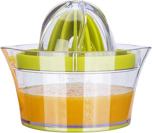 Akaiyal Manuell Zitronenpresse Multifunktional Orange Handpresse Zitrusfrucht Manueller Entsafter Zitruspresse Saftpresse mit 400ML Saftbehälter