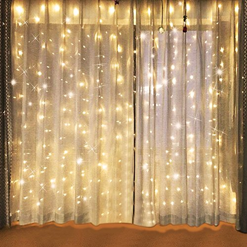 Bjour BGGD-3 18W Curtain Icicle Lights Christmas String Fairy Light Warm White, 300 LEDs, 8 Lighting Modes, 9.84ft Length x 9.84ft - Lights Background Blinking Christmas