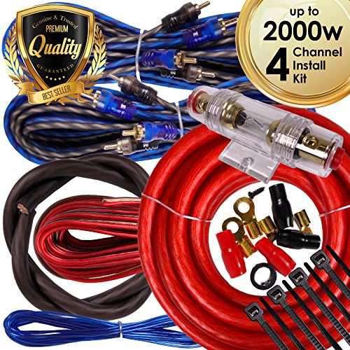 Complete 4 Channels 2000W Gravity 4 Gauge Amplifier Installation Wiring Kit Amp PK1 4 Ga Red - For Installer and DIY Hobbyist - Perfect for Car / Truck / Motorcycle / RV / ATV