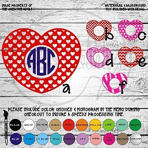 (Heart Center Valentine's Monogram Vinyl Die Cut Decal Sticker for Car Laptop etc.)