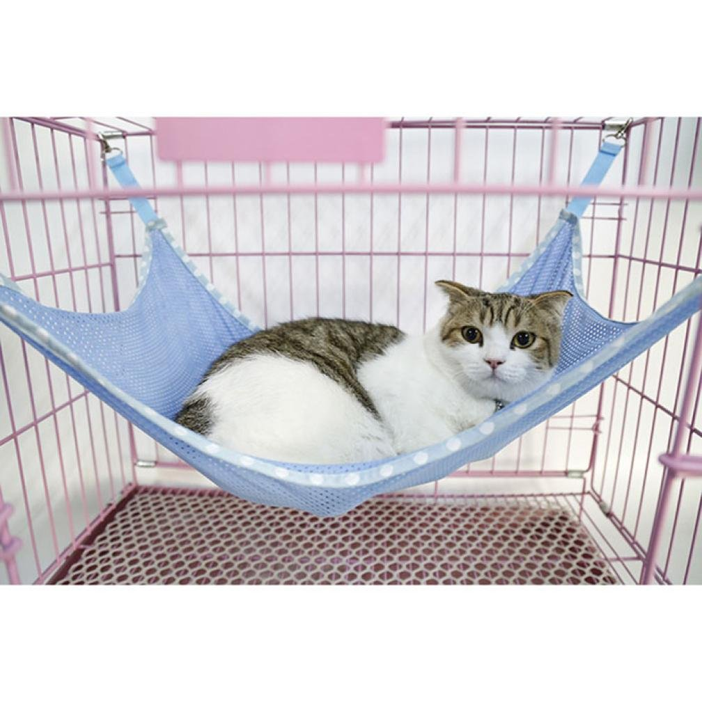 Voberry Pet Animal Cat Kitty Ventilation Net Cloth Hanging Hammock Bed Bunk Sleepy Pad Small Pet Cage Hammock
