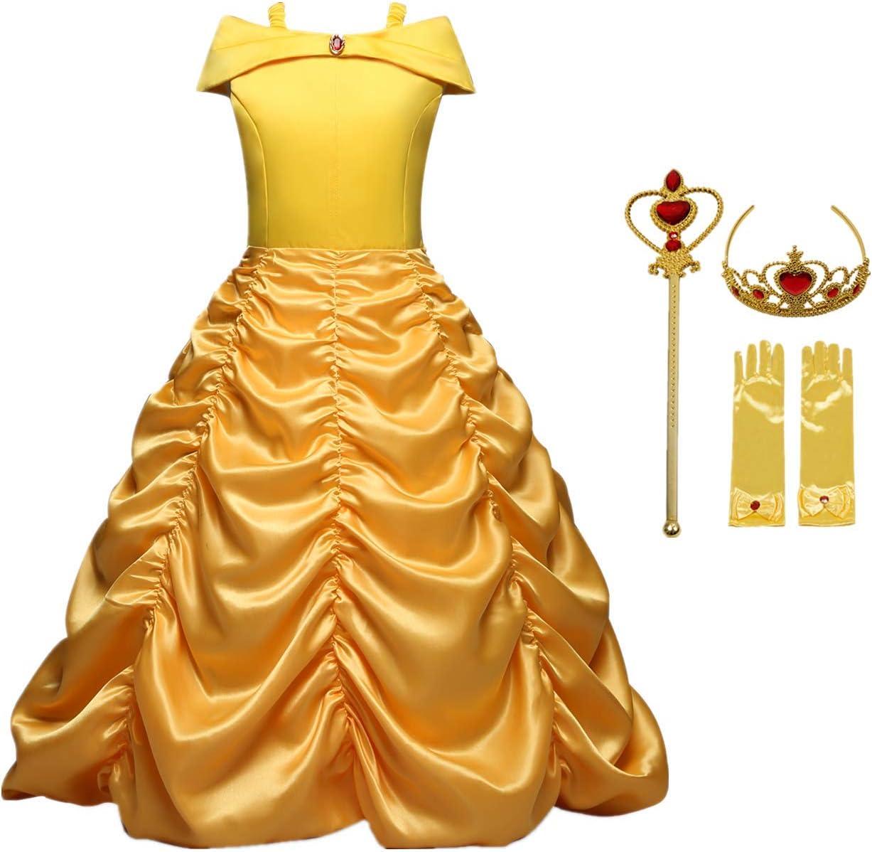 O.AMBW niña Belle Princess Disfraz disfrazarse de Halloween Bella y la Bestia Fiesta de Cosplay Red Amarilla Ropa para niños y Accesorios Guantes Corona Varita mágica, 3-10 años, 110-150 cm
