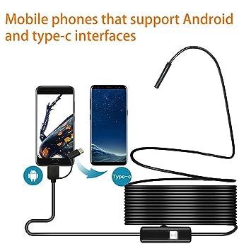 QUARK 5.5 Mm Endoscopio Android, 3 En 1 Cámara De Inspección De Endoscopio para Tablet Smartphone con Función OTG Y UVC Y Ordenador Portátil De La PC ...