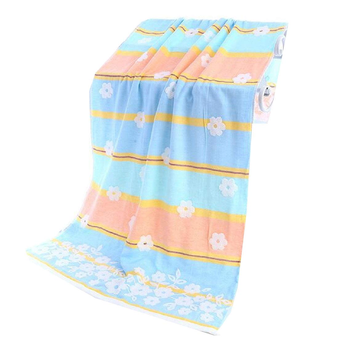 Mfasica Soft Eco-Friendly Ideal for Everyday use Floral Print Towels Antibacterial Bath Sheet Blue 70140cm
