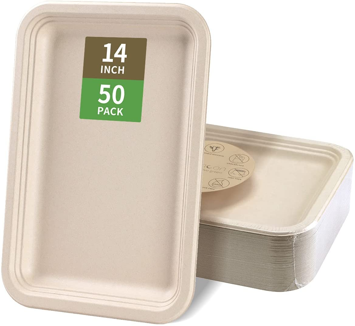 Bloomoon 50 Pack 14 Inch Heavy-Duty Disposable Food Trays, 100% Biodegradable Sugarcane Bagasse Rectangle Large Plates Eco Party Supplies for Seafood, BBQ, Picnic