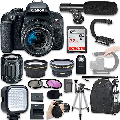 Cheap Canon EOS Rebel T7i DSLR Camera with Canon EF-S 18-55mm f/4-5.6 IS STM Lens + Wide Angle Lens + 2x Telephoto Lens + LED Light + 32GB SD Memory Card + New Video Bundle