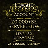 League of Legends Account EUW Level 30 20.000+ IP Unranked Unverified Email
