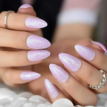 Amazoncom Pack 24 Almond Chrome Glitter Nails Light Purple