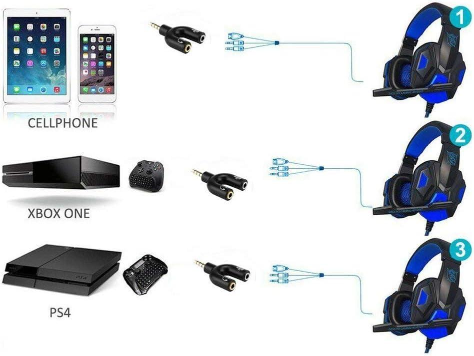 Hehilark pour Xbox One Adaptateur Casque Casque Mic Splitter 2 /à 1 pour PS4 PC Ordinateur Portable Casque Casque Adaptateur Audio TRRS