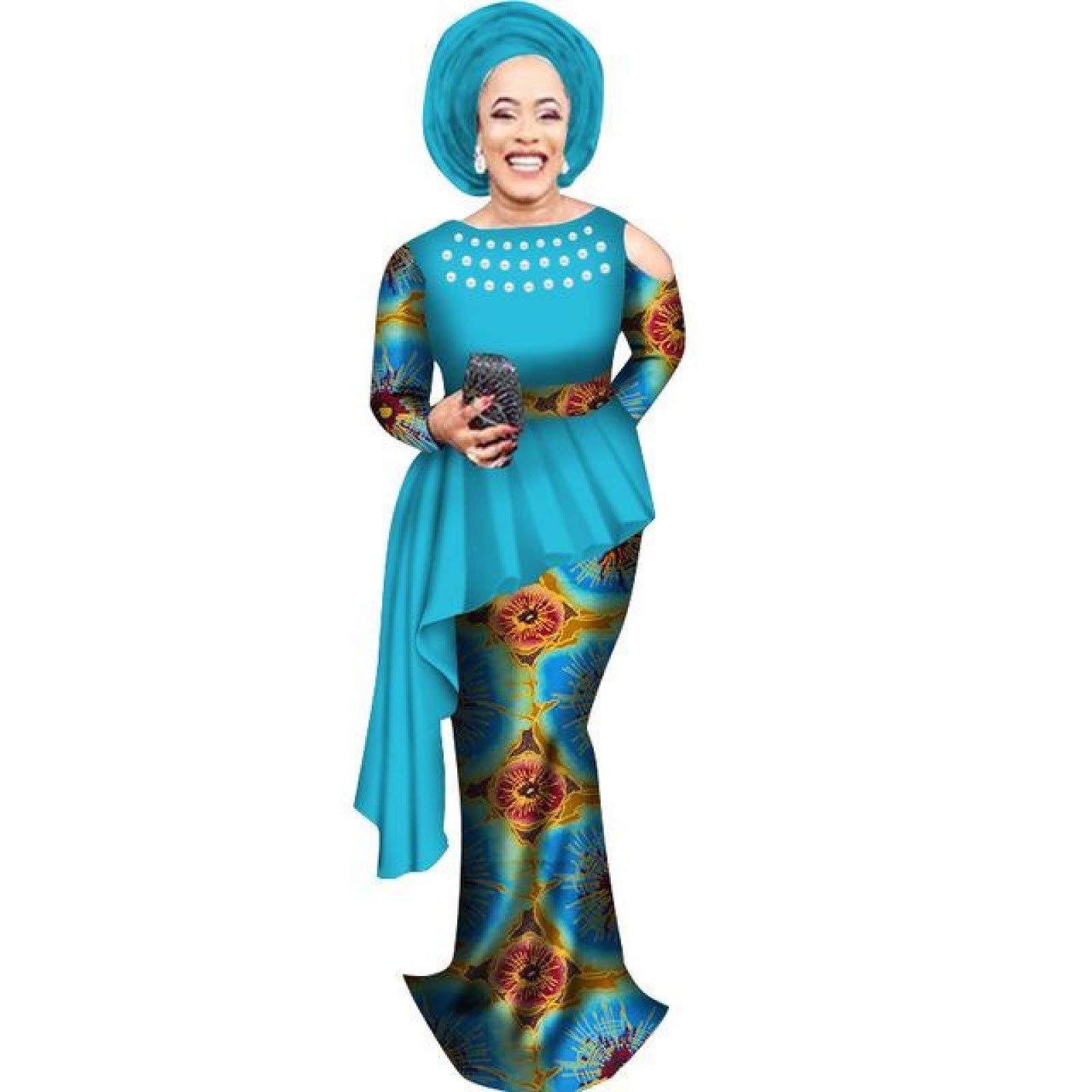African Clothing Top-Skirt Set for Women Dashiki Cotton Wax Print Plain and Pattern